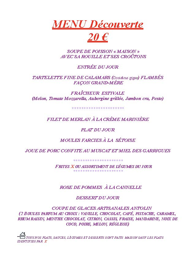MENU decouverte