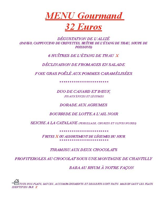 menu gourmand